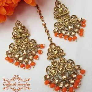 Pakistani Gold Orange Polki Earrings Tikka Set